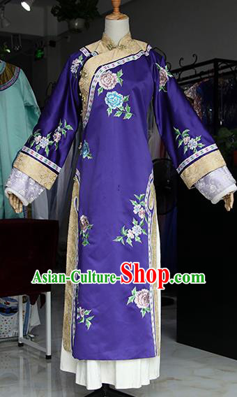 Chinese Ancient Drama Empress Purple Costumes Traditional Qing Dynasty Palace Queen Dress for Women