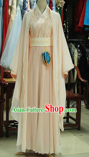 Chinese Ancient Drama Peri Pink Costumes Traditional Ming Dynasty Princess Dress for Women