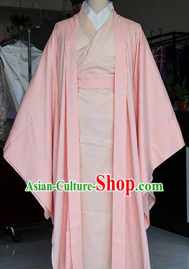 Chinese Ancient Drama Nobility Childe Pink Costumes Traditional Jin Dynasty Swordsman Clothing for Men