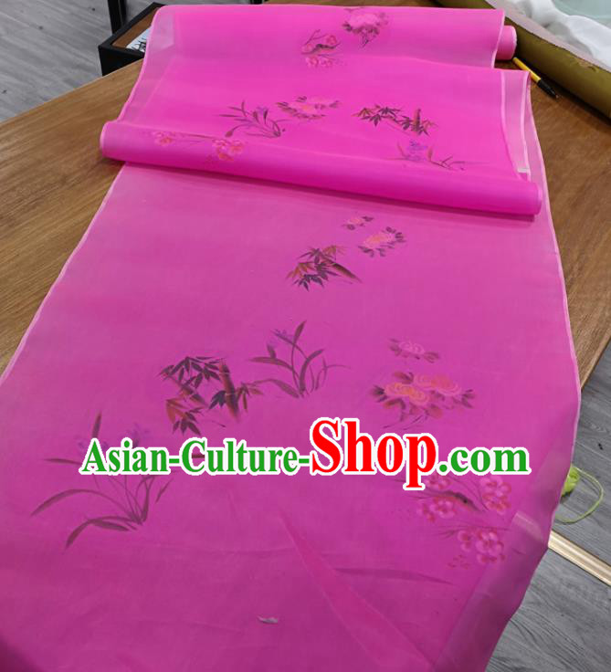 Chinese Traditional Plum Blossoms Orchid Bamboo Chrysanthemum Pattern Design Rosy Silk Fabric Brocade Asian Satin Material
