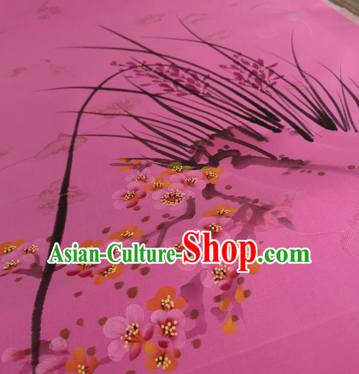 Chinese Traditional Orchid Plum Blossom Pattern Design Pink Silk Fabric Brocade Asian Satin Material
