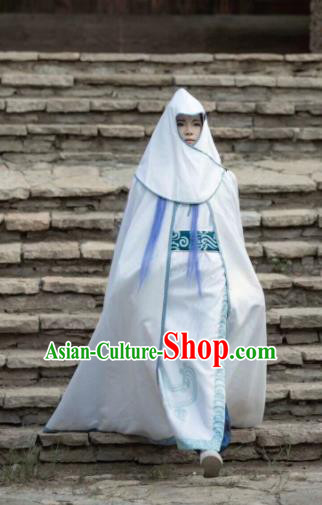 Chinese Ancient Drama Cosplay Dragon Prince Ao Bing White Clothing Traditional Hanfu Swordsman Costume for Men