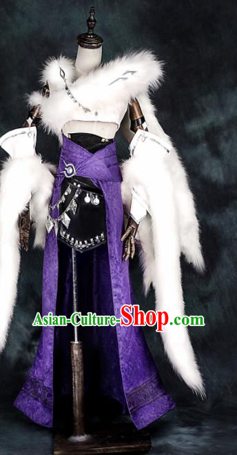 Chinese Ancient Cosplay Heroine Female Assassin Purple Dress Traditional Hanfu Swordsman Costume for Women