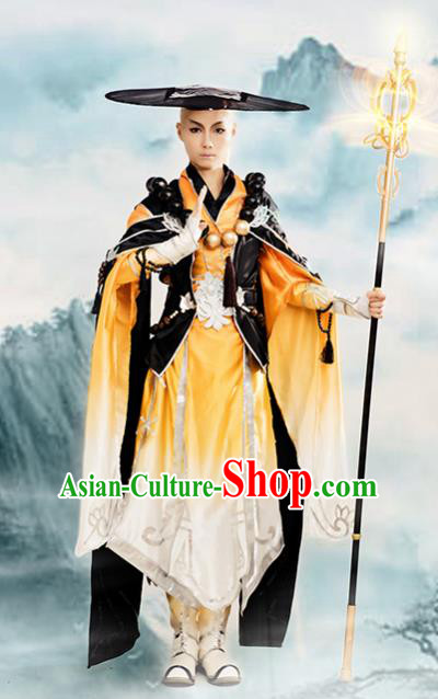 Chinese Ancient Cosplay Knight Monk Clothing Traditional Hanfu Swordsman Costume for Men