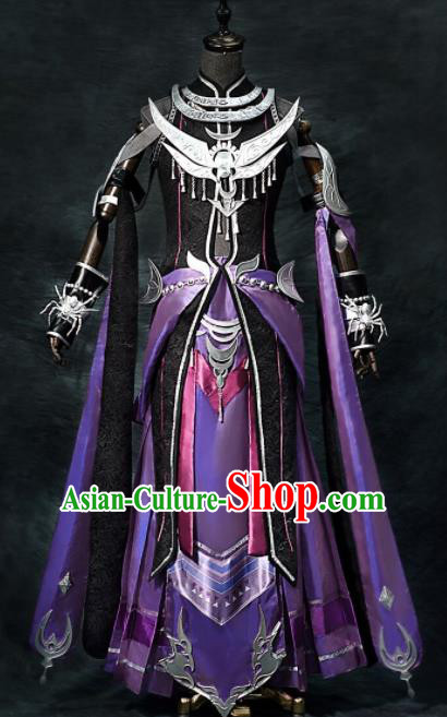 Chinese Ancient Cosplay Heroine Female General Armor Purple Dress Traditional Hanfu Swordsman Costume for Women
