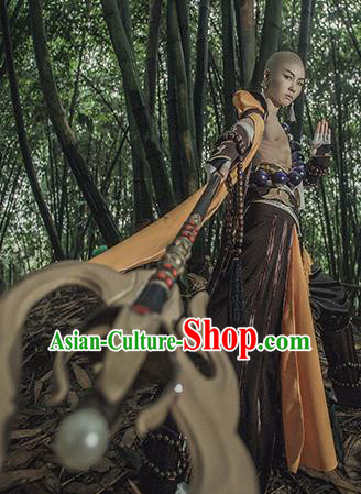 Chinese Ancient Cosplay Monk Kawaler Knight Clothing Traditional Hanfu Swordsman Costume for Men