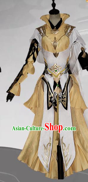 Chinese Ancient Cosplay Heroine Female Knight Golden Dress Traditional Hanfu Swordsman Costume for Women