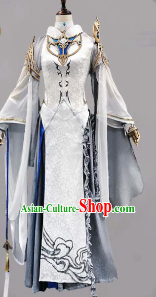 Chinese Ancient Cosplay Heroine Female Knight White Dress Traditional Hanfu Swordsman Costume for Women