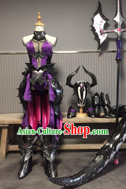 Chinese Ancient Cosplay Heroine Female Knight Purple Dress Traditional Hanfu Swordsman Costume for Women