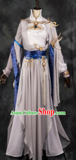 Chinese Ancient Cosplay Heroine Female Knight Khaki Dress Traditional Hanfu Swordsman Costume for Women