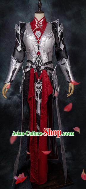 Chinese Ancient Cosplay Heroine Red Armor Female Knight Dress Traditional Hanfu Swordsman Costume for Women