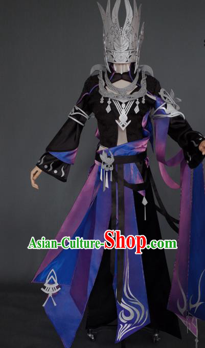 Chinese Ancient Cosplay Heroine Female Knight Black Dress Traditional Hanfu Swordsman Costume for Women