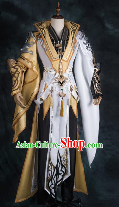 Chinese Ancient Drama Cosplay Knight Golden Clothing Young General Armor Traditional Hanfu Swordsman Costume for Men