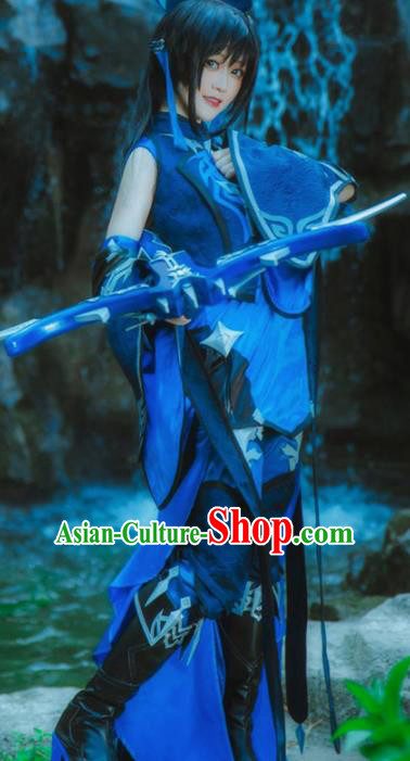 Chinese Ancient Cosplay Heroine Female Knight Blue Dress Traditional Hanfu Swordsman Costume for Women