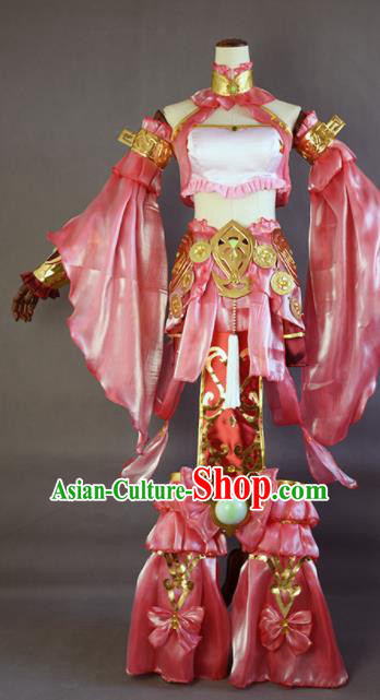 Chinese Ancient Cosplay Fairy Pink Dress Traditional Hanfu Female Swordsman Costume for Women