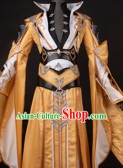 Chinese Ancient Drama Cosplay Knight King Golden Clothing Traditional Hanfu Swordsman Costume for Men