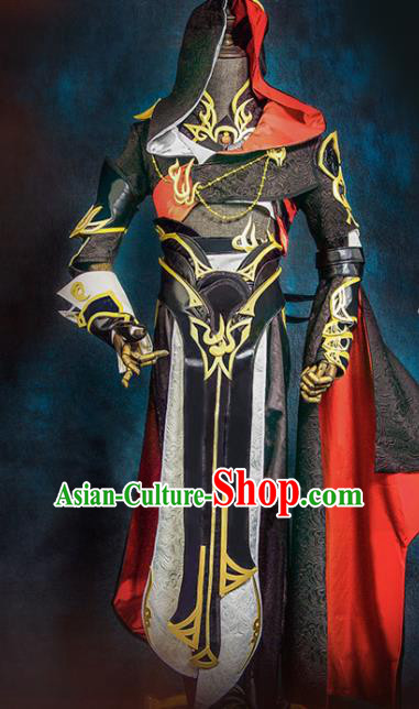 Chinese Ancient Drama Cosplay Young Hero Knight Black Clothing Traditional Hanfu Swordsman Costume for Men