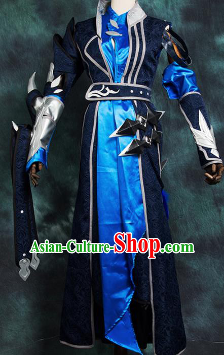Chinese Ancient Drama Cosplay Young Hero Knight Blue Clothing Traditional Hanfu Swordsman Costume for Men