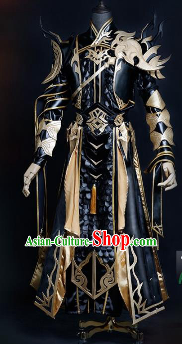 Chinese Ancient Drama Cosplay Young General Armor Knight Black Clothing Traditional Hanfu Swordsman Costume for Men