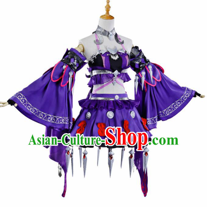 Chinese Ancient Cosplay Heroine Princess Purple Dress Traditional Hanfu Swordsman Costume for Women
