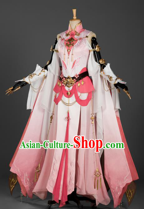 Chinese Ancient Cosplay Female General Heroine Pink Dress Traditional Hanfu Princess Swordsman Costume for Women