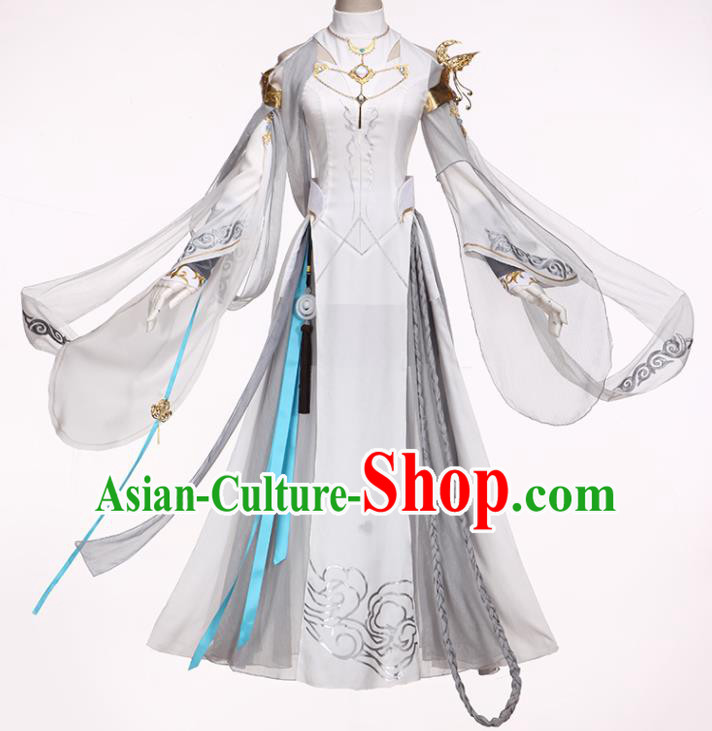 Chinese Ancient Cosplay Female General Heroine White Dress Traditional Hanfu Princess Swordsman Costume for Women