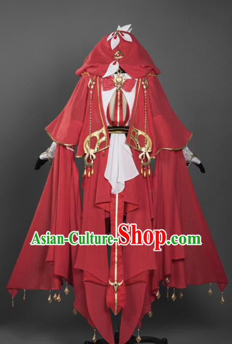 Chinese Ancient Cosplay Female General Heroine Red Dress Traditional Hanfu Princess Swordsman Costume for Women