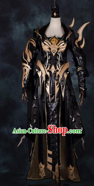 Chinese Ancient Cosplay Heroine Black Armor Female Knight Dress Traditional Hanfu Swordsman Costume for Women