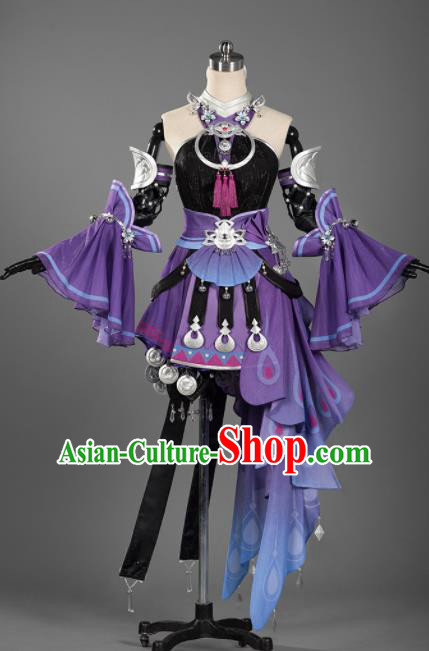 Chinese Ancient Cosplay Female General Heroine Purple Short Dress Traditional Hanfu Princess Swordsman Costume for Women