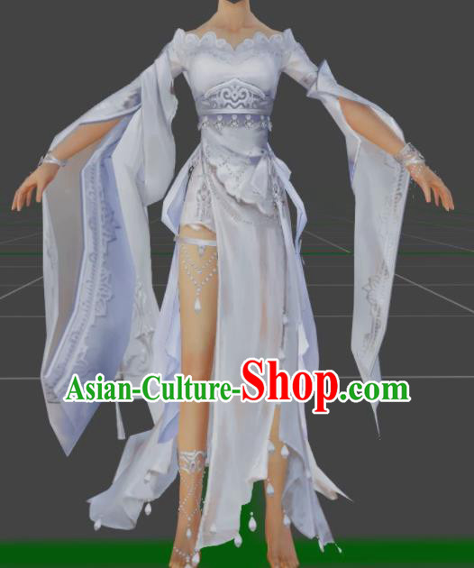 Chinese Ancient Cosplay Female General Heroine Lilac Dress Traditional Hanfu Princess Swordsman Costume for Women