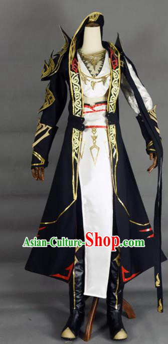 Chinese Ancient Cosplay Knight Black Clothing Traditional Hanfu Swordsman Costume for Men