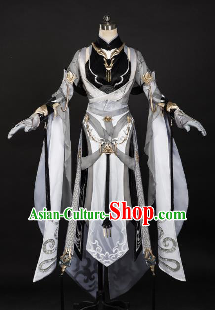 Chinese Ancient Cosplay Female Knight Heroine Grey Dress Traditional Hanfu Princess Swordsman Costume for Women