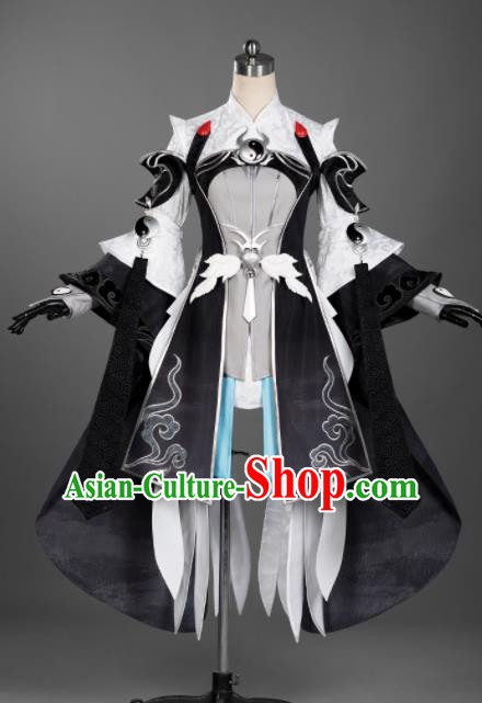 Chinese Ancient Cosplay Taoist Nun Female Knight Black Dress Traditional Hanfu Princess Swordsman Costume for Women
