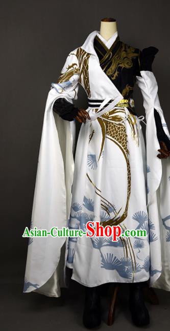 Chinese Ancient Cosplay Young Hero White Clothing Traditional Hanfu Swordsman Costume for Men