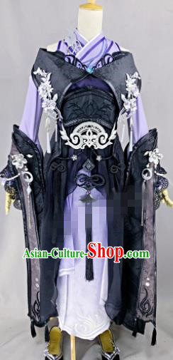 Chinese Ancient Cosplay Fairy Purple Dress Traditional Hanfu Female Swordsman Costume for Women