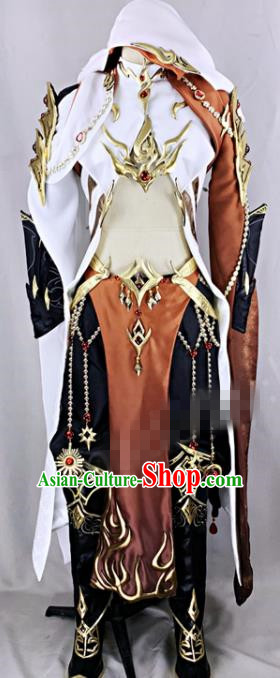 Chinese Ancient Drama Cosplay Young Knight Brown Clothing Traditional Hanfu Swordsman Costume for Men