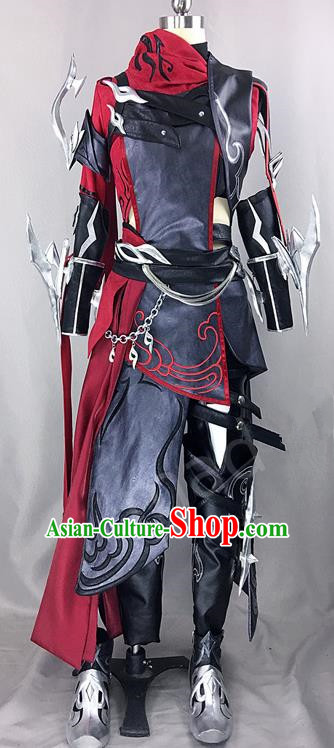 Chinese Ancient Drama Cosplay Assassin Knight Black Clothing Traditional Hanfu Swordsman Costume for Men