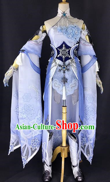 Chinese Ancient Cosplay Young Heroine Blue Dress Traditional Hanfu Female Swordsman Costume for Women