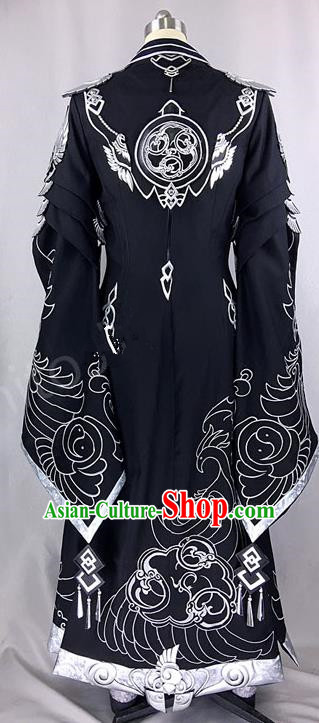 Chinese Ancient Drama Cosplay Royal Highness Black Clothing Traditional Hanfu Swordsman Costume for Men