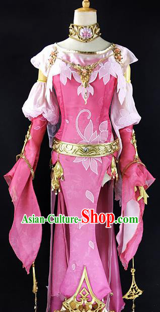 Chinese Ancient Cosplay Heroine Pink Dress Traditional Hanfu Female Swordsman Costume for Women