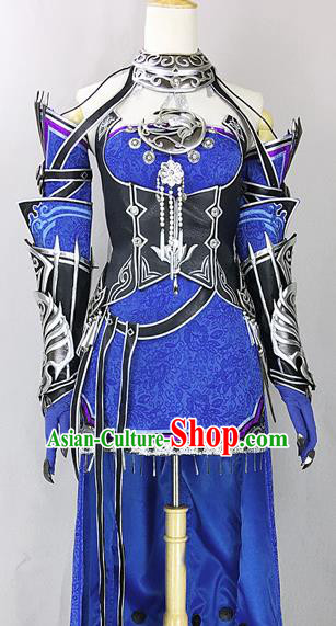 Chinese Ancient Cosplay Heroine Royalblue Dress Traditional Hanfu Female Swordsman Costume for Women