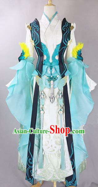 Chinese Ancient Cosplay Heroine Princess White Dress Traditional Hanfu Female Swordsman Costume for Women