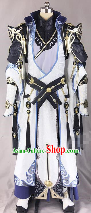 Chinese Ancient Drama Cosplay Royal Highness White Clothing Traditional Hanfu Swordsman Costume for Men