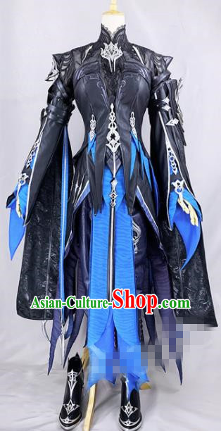 Chinese Ancient Cosplay Heroine Black Dress Traditional Hanfu Female Swordsman Costume for Women
