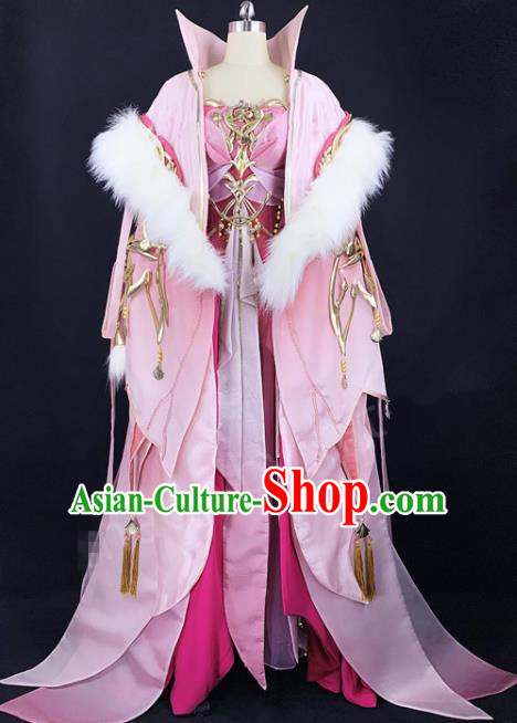 Chinese Ancient Cosplay Imperial Consort Pink Dress Traditional Hanfu Female Swordsman Costume for Women