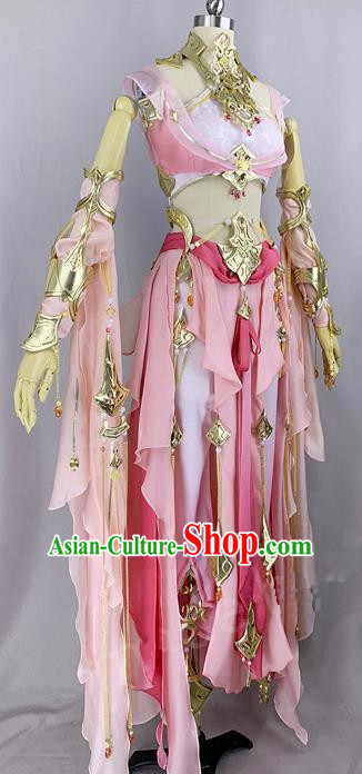 Chinese Ancient Cosplay Young Heroine Pink Dress Traditional Hanfu Female Swordsman Costume for Women