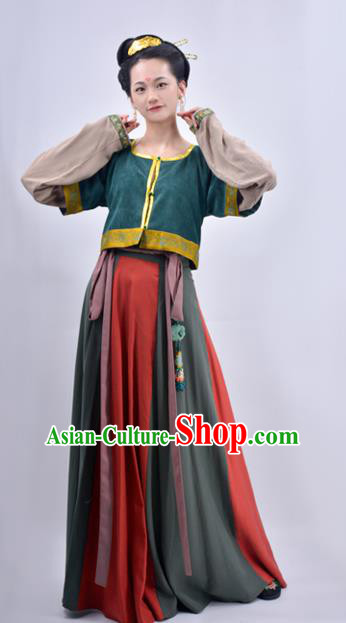 Chinese Traditional Tang Dynasty Court Maidservant Replica Costumes Ancient Palace Lady Hanfu Dress for Women