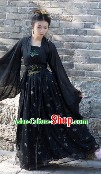 Chinese Ancient Cosplay Peri Black Dress Traditional Hanfu Tang Dynasty Princess Costume for Women