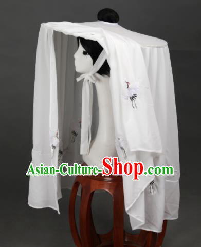 Chinese Ancient Cosplay Hanfu Bamboo Hat Traditional Handmade Swordsman White Veil Hat for Women