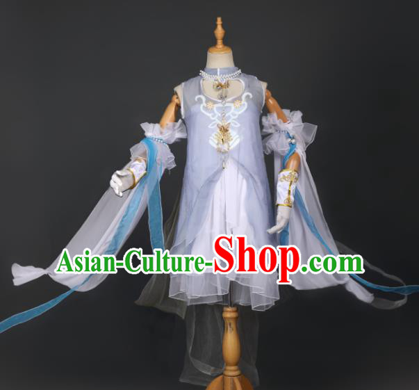 Chinese Ancient Cosplay Game Fairy Knight Light Blue Dress Traditional Hanfu Swordsman Costume for Women